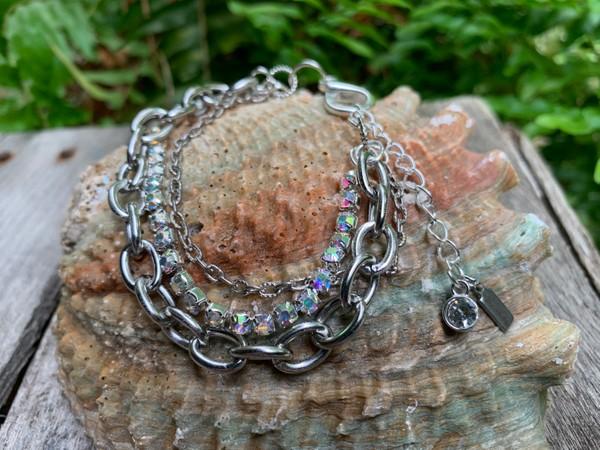 Three Layer Silver Chain Bracelet
