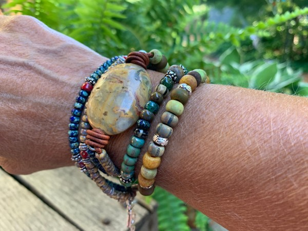 Leather Wrap Picasso Czech Bead Mexican Agate Stone Bracelet