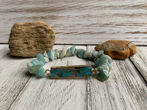 Amazonite Ocean Blue Gold Turquoise Bracelet