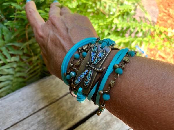 Dragonfly Endless Four Strand Wrap Bracelet Custom Order Only