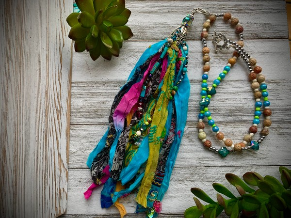 Sequined Embroidered Sari Silk Turquoise Green Pink Tassel Beaded Necklace