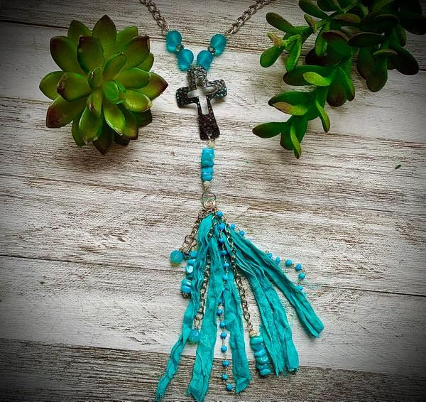 Sari Silk Turquoise Tassel Cross Crucifix Beaded Necklace