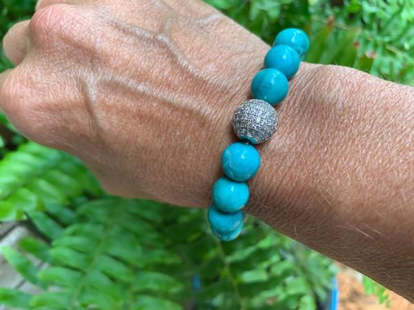 Precious Turquoise Rhinestone Stretch Bracelet
