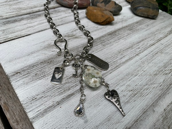 Silver Rolo Chain Front Hook Clasp Charm Necklace