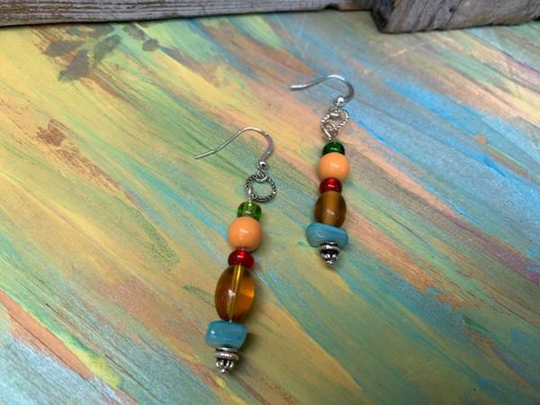 Fiesta BoHo Colorful 2 inch earrings