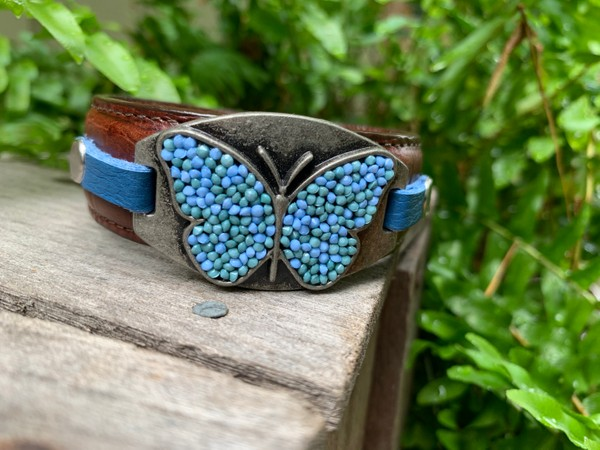Upcycled Brown Leather Antique Silver Butterfly Cuff Bracelet