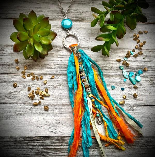 Sari Silk Turquoise Orange Taupe Tassel Silver Chain Necklace