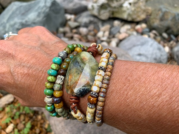 Leather Wrap Picasso Czech Beaded Emerald Natural Opal Stone Bracelet