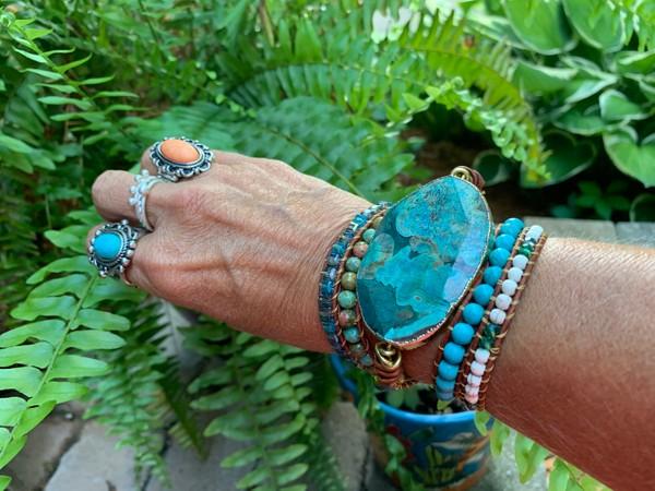Ocean Blue Jasper Large Pendant Leather Beaded Wrap Bracelet