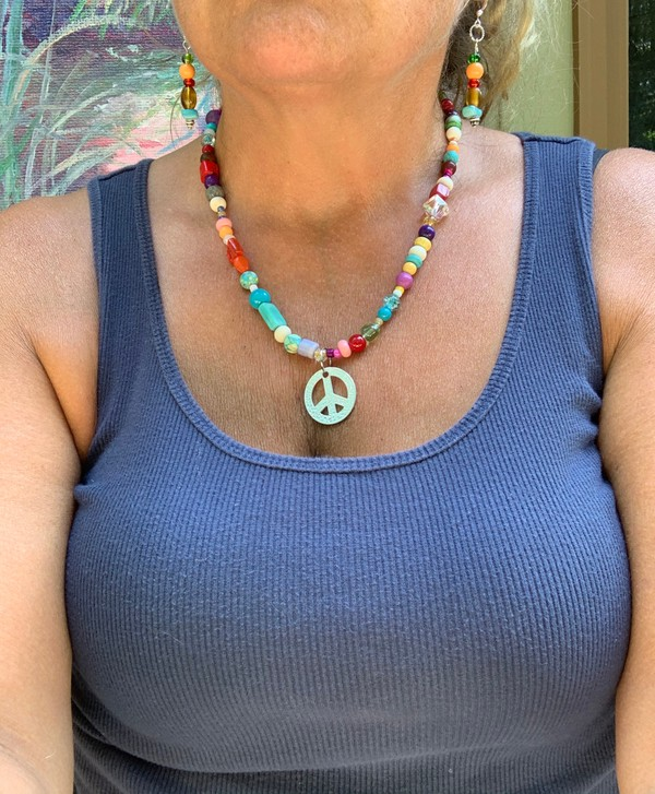 "Fiesta BoHo Colorful Bead Peace Sign Pendant 22"" Necklace"