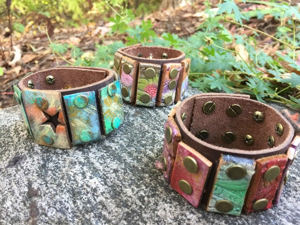 Upcycled Multi-Colored Leather Pieces Cuff Bracelet **Custom Order Only**