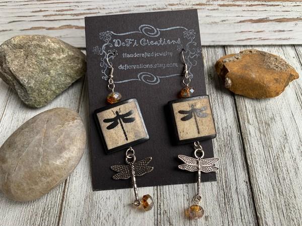 Dragonfly Wood Orange Crystal Silver Earrings