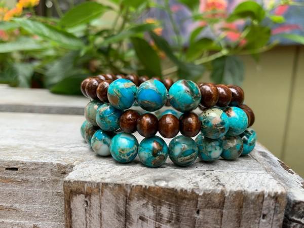 Imperial Turquoise Jasper Wood Bead Stretch Bracelets (Set of 3)