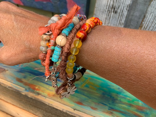 Set of 5  Boho 70's Hippie Stackable Bracelets