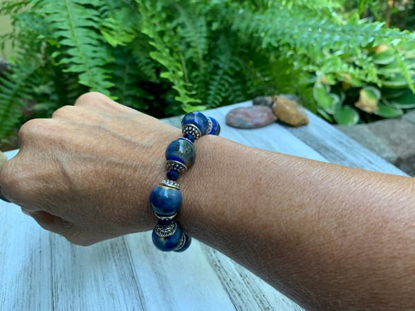 Large Blue Ceramic Sapphire Crystal Bead Stretch Bracelet