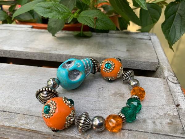 Large Sugar Skull Colorful Fiesta Stretch Bracelet