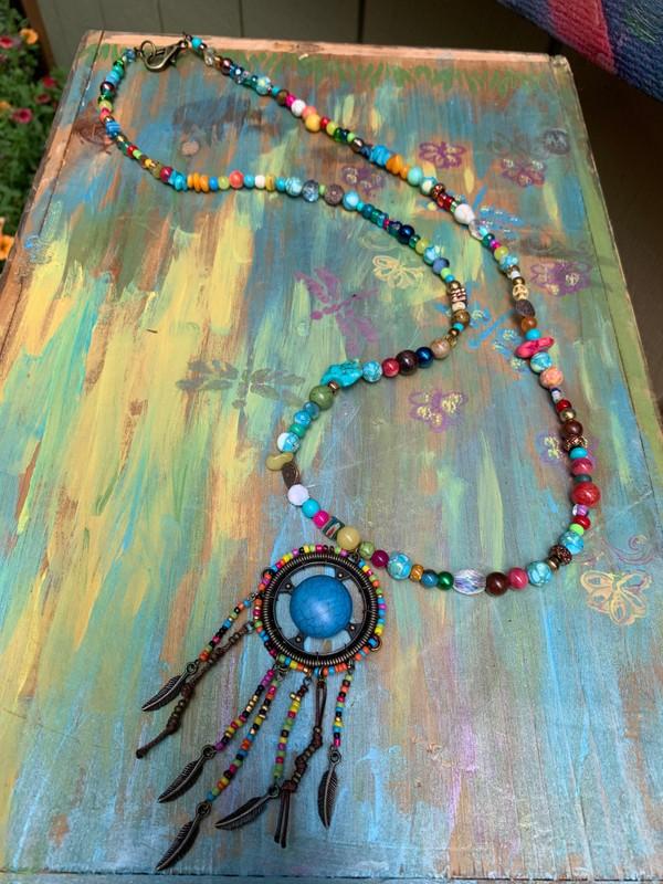 "Fiesta BoHo Turquoise Tribal Beaded 44"" Necklace"