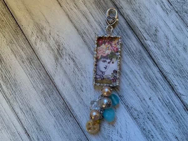 Floral Lady/Crown Rhinestone Design Soldered Pendant
