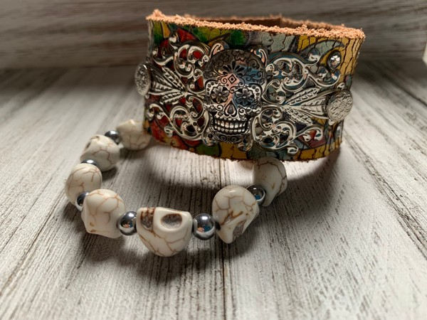 Upcycled Distressed Leather Aged Ed Hardy Silver Sugar Skull Cuff Bracelet