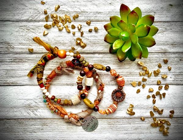 Sari Silk Earthtone Simplify Bangle Beaded Stretch (Set of 3) Stackable Bracelets