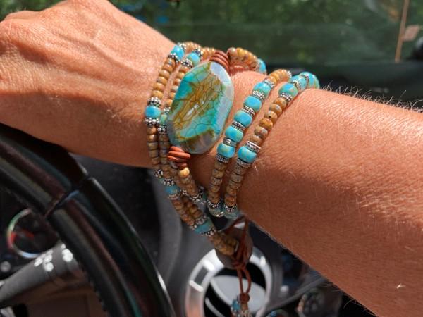 Leather Wrap Picasso Czech Bead Green Blue Fire Agate Stone Bracelet