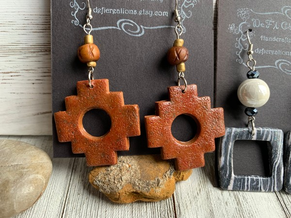 Earth Red Tone Aztec Clay Dangling Earrings