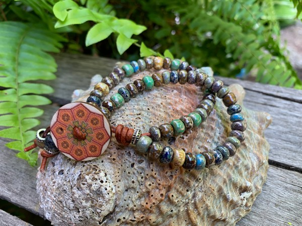 Moon Picasso Fancy Mix Czech Bead Two Strand Leather Wrap