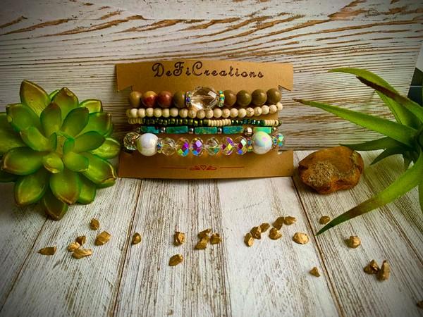 Chinese Jasper Turquoise Crystal Rhinestone Stackable Bracelets
