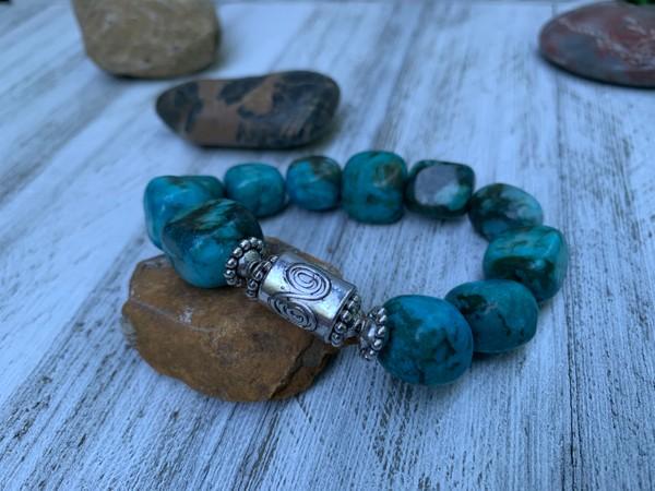 Large Chunky Blue Imperial Jasper Bead Stretch Bracelet