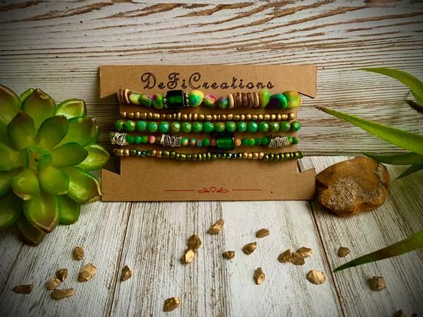 Kyanite Earthy Green Stackable Set of 5 Bracelets
