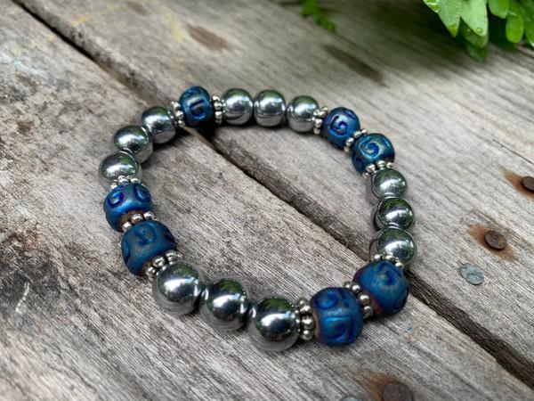 Blue Rondelle Silver Hematite 10mm Stone Beads Stretch