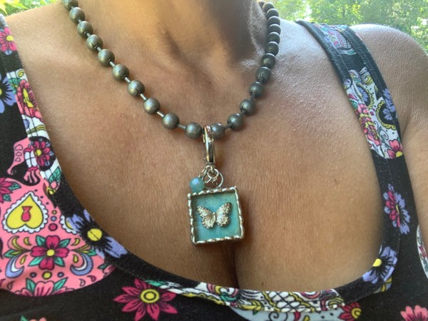 Shadow Box Butterfly Lead Free Soldered Pendant Necklace