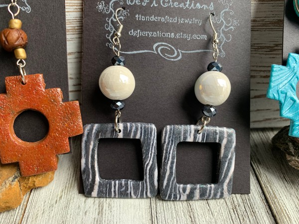 Twinkle White Grey White/Black Bead Clay Dangle Earrings