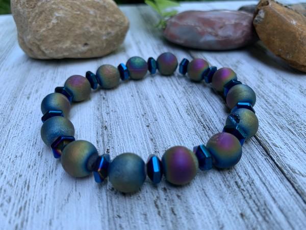 Multi Iris Agate Druzy Hematite Blue Luster Stone Bead Stretch