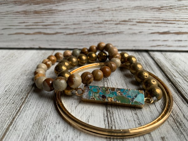 Jasper Turquoise Pendant Gold Stackable Bracelets (Set of 4)