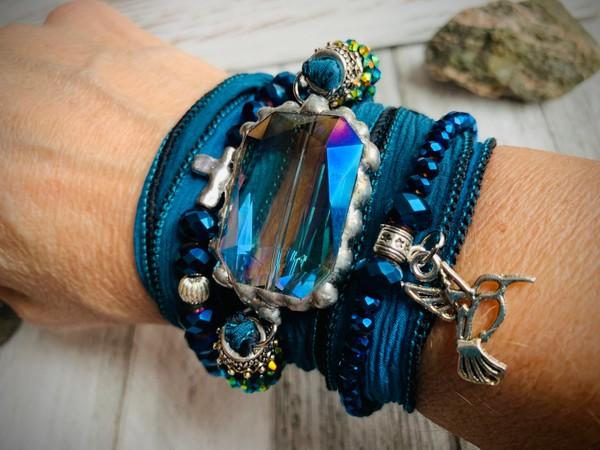 BoHo Silk Ribbon Blue Crystal Glass Soldered Pendant Wrap Bracelet