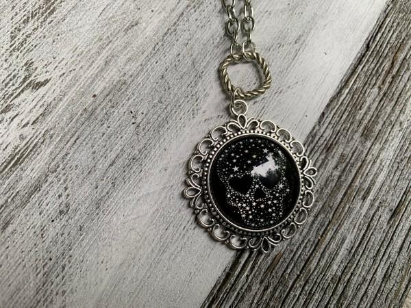 """Silver Loop Chain Sugar Skull Cabochon 28"""" Necklace"""