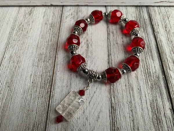 Red Crystal Glass Beaded Stretch Bracelet