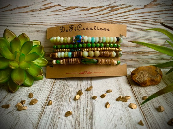 Amazonite Czech Green Wood Stackable Stretch Set of 5