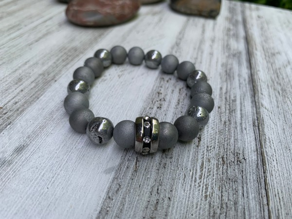 Silver and Iris Agate Druzy Stones Silver Black Crystal Large Spacer