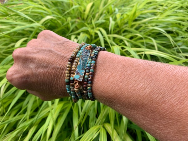 Copper Turquoise Gemstone Leather Wrap Picasso Bead Wrap Bracelet/Necklace