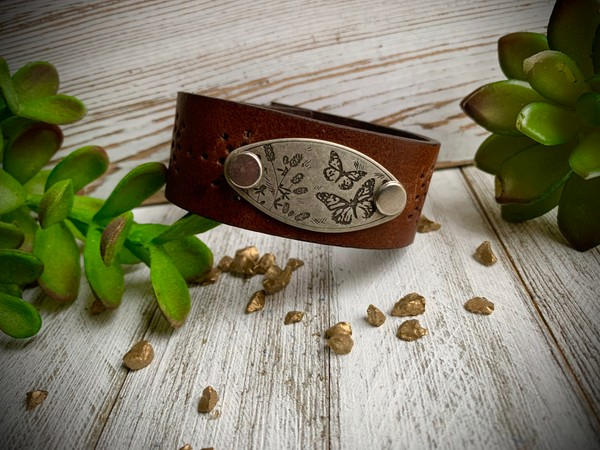 Upcycled Brown Leather Silver Butterfly Design Pendant Cuff