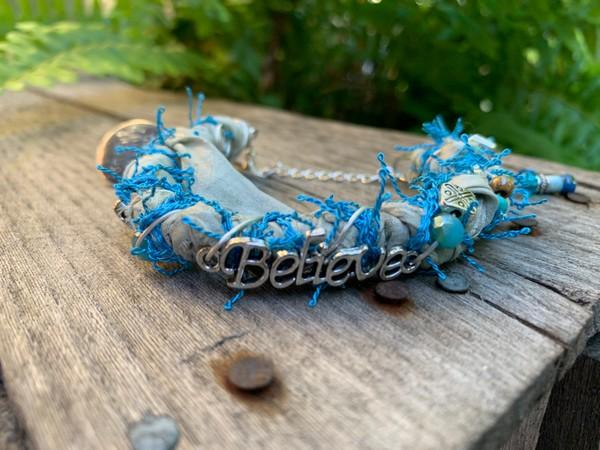 Recycled Beige Turquoise Believe Sari Silk Bangle Bracelet
