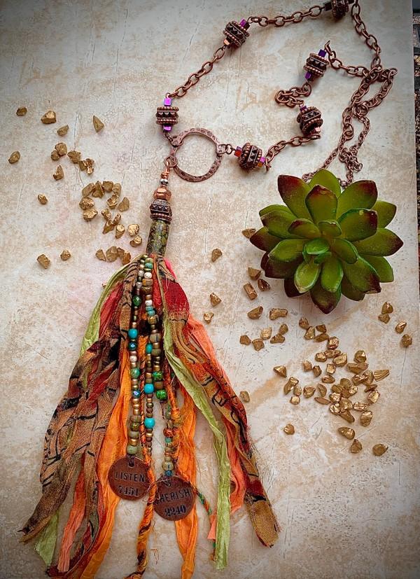 Sari Silk Copper SunSet Tassel Necklace