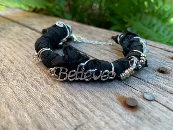 Recycled Black Silver Believe Simplify Sari Silk