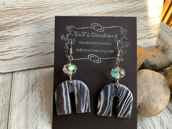 Twinkle White Grey Iridescent Crystal Bead Clay Dangle Earrings