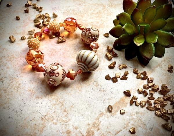 Ivory Orange Gold Crystal Stretch Bracelet
