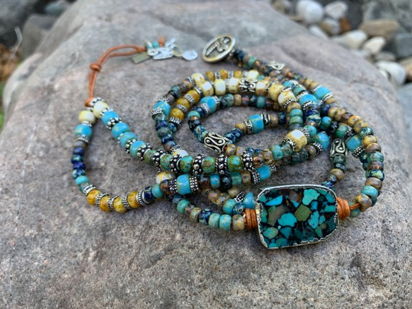 Copper Turquoise Pendant Picasso Dragonfly Leather Wrap Bracelet/Necklace *Made to Order Piece*