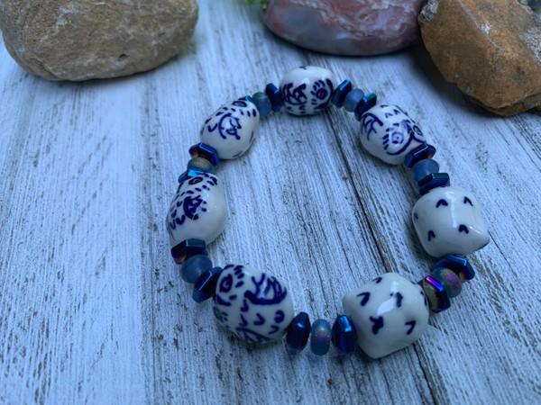 Blue White Ceramic Owl Stretch Bracelet