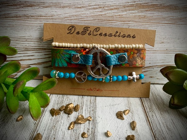 Embossed Flower Design Leather Peace Cuff Blue Stretch Bracelets
